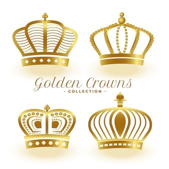Conjunto de cuatro coronas reales doradas de lujo