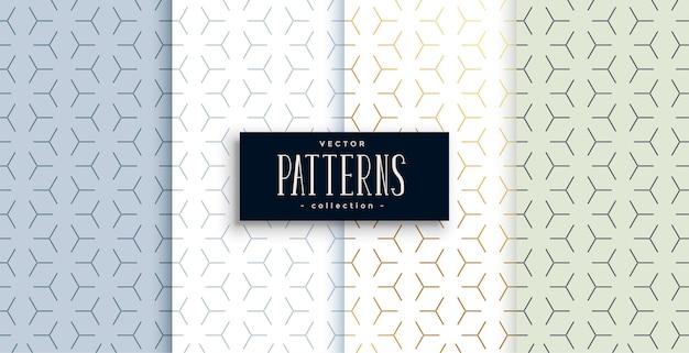 Conjunto de cuatro diseños de patrones geométricos minimalistas.