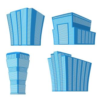 Conjunto de cuatro edificios modernos de gran altura sobre un fondo blanco. vista del edificio desde abajo. ilustración vectorial isométrica.