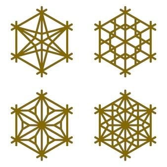 Un conjunto de cuatro elementos en forma de copo de nieve en un hexágono.