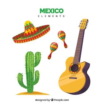 Conjunto de cuatro elementos de mexico
