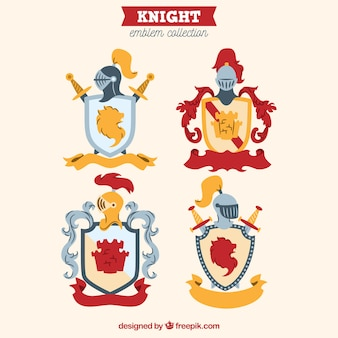 Conjunto de cuatro emblemas de caballero