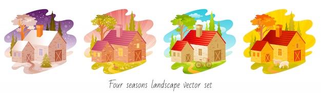Conjunto de cuatro estaciones. casa con símbolos de invierno, primavera, verano, otoño.