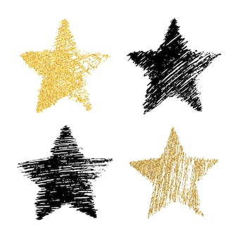 Conjunto de cuatro estrellas dibujadas a mano negras y con efecto glitter dorado. forma de estrella rugosa en estilo doodle con efecto de brillo dorado sobre fondo blanco. ilustración vectorial
