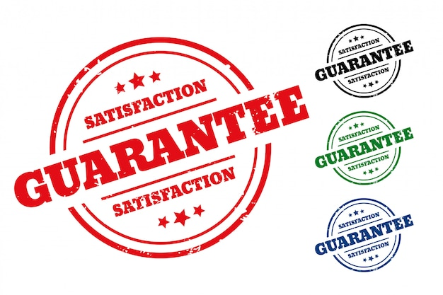 Conjunto de cuatro etiquetas de sello de goma de garantía de satisfacción