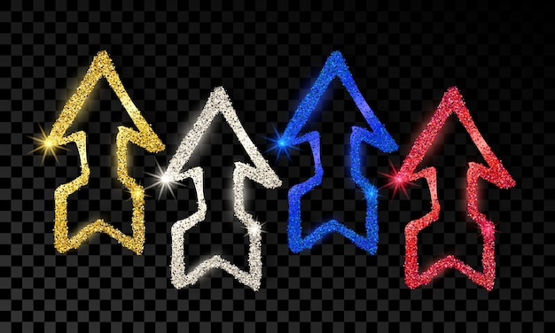Conjunto de cuatro flechas dibujadas a mano de doodle con efecto de brillo dorado, plateado, azul y rojo sobre fondo transparente oscuro. ilustración vectorial