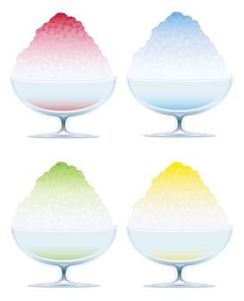 Conjunto de cuatro hielo raspado aislado en un fondo blanco, ilustración.