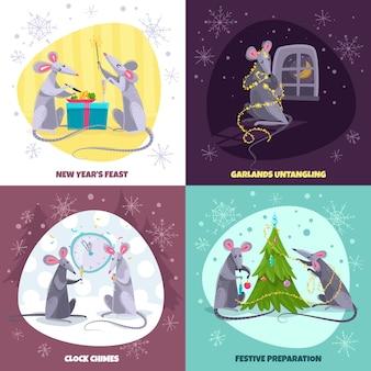 Conjunto de cuatro ilustraciones cuadradas con personajes de dibujos animados ratas ratones