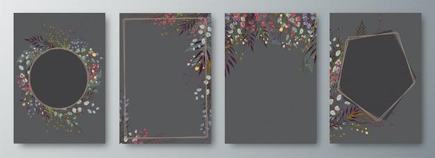 Conjunto de cuatro invitaciones o tarjetas de felicitación de diseño decoradas.