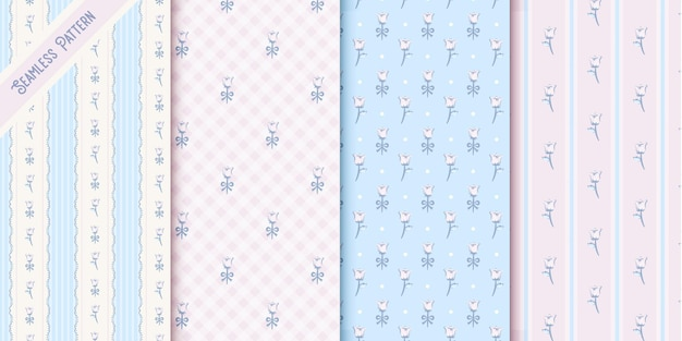 Conjunto de cuatro lindos patrones sin fisuras florales vintage
