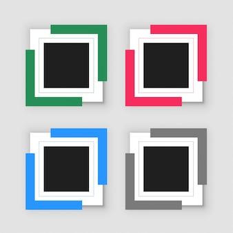 Conjunto de cuatro marcos de infografía vacío