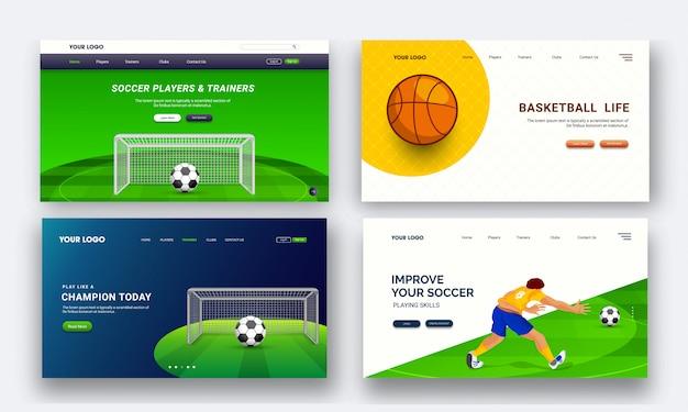 Conjunto de cuatro páginas de aterrizaje de diseño para el torneo de deportes en vivo conce.