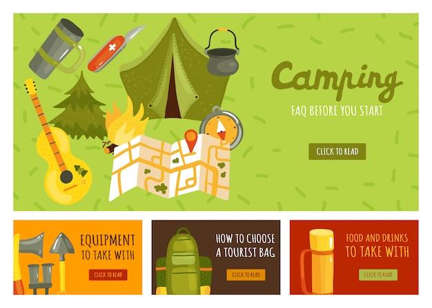 Conjunto de cuatro pancartas con el equipo necesario para acampar