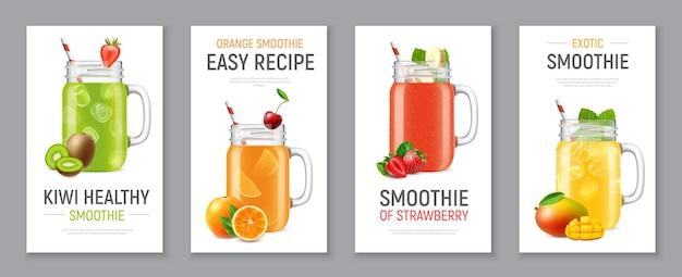 Conjunto de cuatro pancartas verticales realistas con batido frío de frutas y bayas en frascos