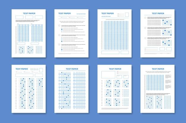 Conjunto de cuatro papeles de prueba verticales con hojas de examen de colores realistas con texto editable