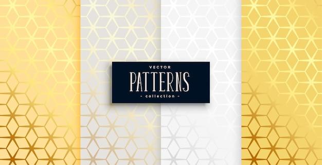 Conjunto de cuatro patrón hexagonal geométrico dorado