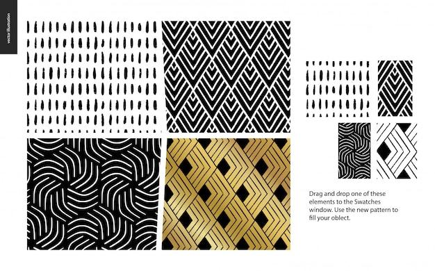 Conjunto de cuatro patrones abstractos negro, dorado y blanco.
