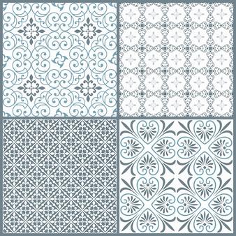 Conjunto de cuatro patrones decorativos simétricos sin costura vintage