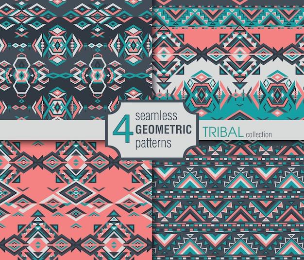 Conjunto de cuatro patrones étnicos sin costura.