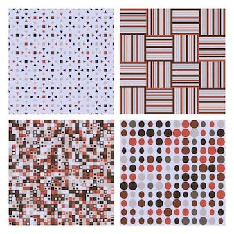 Conjunto de cuatro patrones sin fisuras retro decorativos. textura transparente de vector para fondos de pantalla, rellenos de patrón
