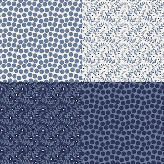Conjunto de cuatro patrones florales coloridos (mosaico sin costura).