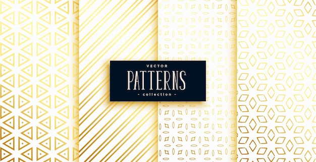 Conjunto de cuatro patrones de formas geométricas modernas blanco y dorado