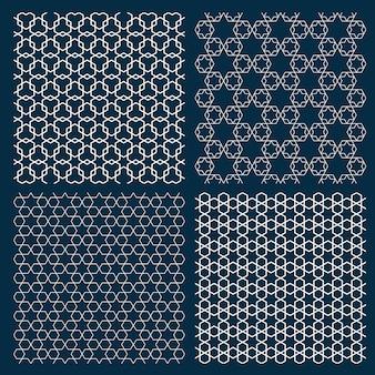 Conjunto de cuatro patrones geométricos árabes con estrellas