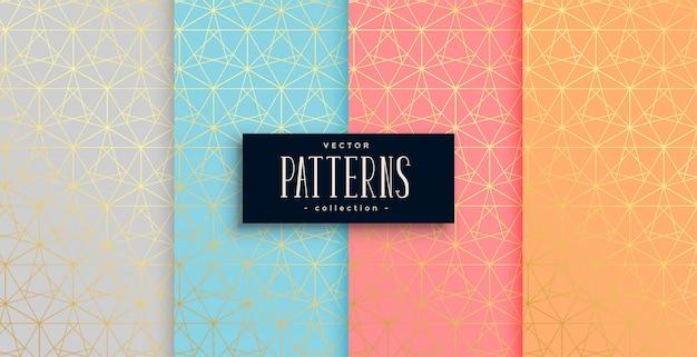 Conjunto de cuatro patrones geométricos de oro en colores pastel