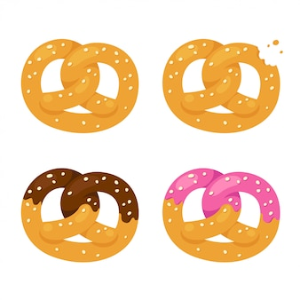 Conjunto de cuatro pretzels, chocolate glaseado y sin esmaltar