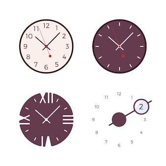 Conjunto de cuatro relojes de pared modernos.