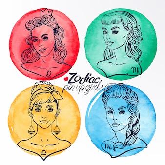 Conjunto de cuatro signos del zodíaco como niñas en el estilo pin-up