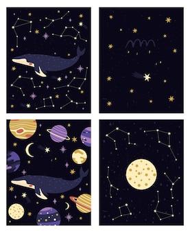Conjunto de cuatro tarjetas prefabricadas diferentes con constelaciones y planetas ballenas cósmicas