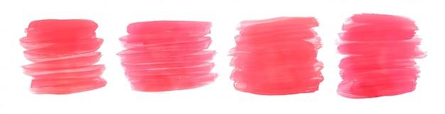Conjunto de cuatro trazos de pincel de pintura acuarela rosa
