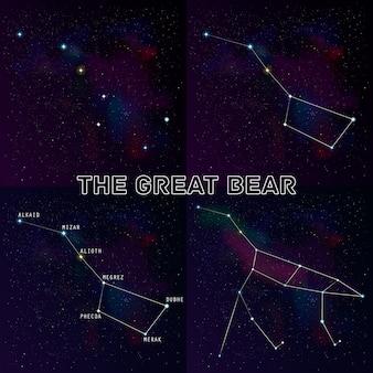 Conjunto de cuatro versiones de la constelación de cazo grande: la constelación del gran oso