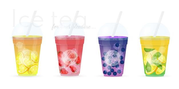 Conjunto de cuatro zumos de frutas