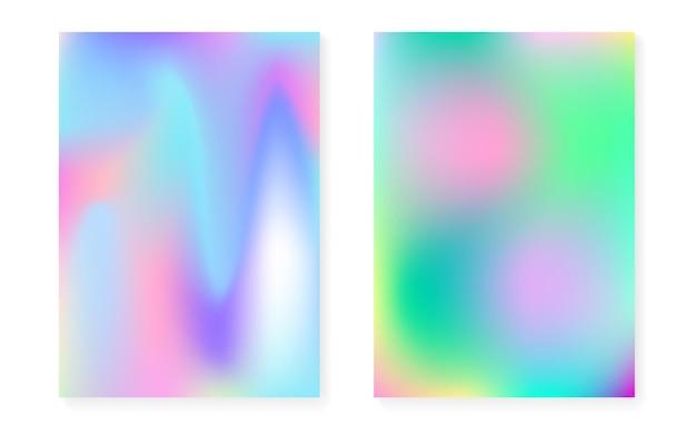 Conjunto de cubierta holográfica con fondo degradado de holograma