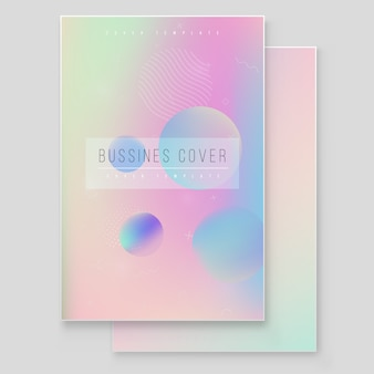 Conjunto de cubierta holográfica moderna furística. estilo retro de los años 90 y 80. hipster estilo gráfico geométrico elementos holográficos. diseño de portada digital para su negocio con líneas abstractas y portada de holografía