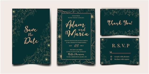 Conjunto de cubierta de invitación de boda con belleza floral tulipán flor abstracta doodle estilo dibujado a mano ornamento decoración