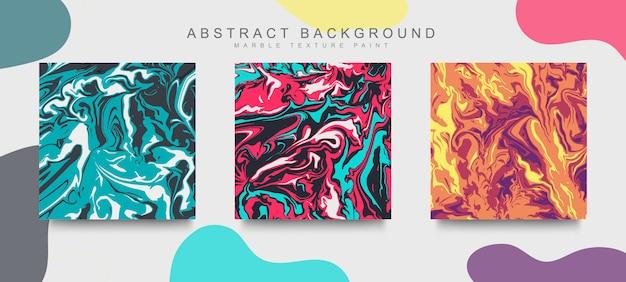 Conjunto de cubierta de moda diseño moderno de textura de mármol líquido abstracto. mezcla de textura de mármol de color.