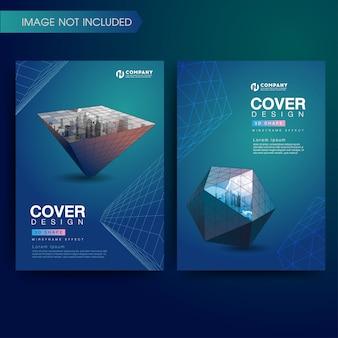 Conjunto de cubierta moderna 3d formas geométricas de alambre