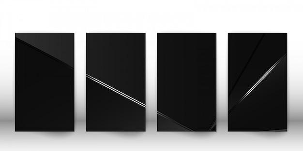 Conjunto de cubierta oscura abstracta poligonal de lujo