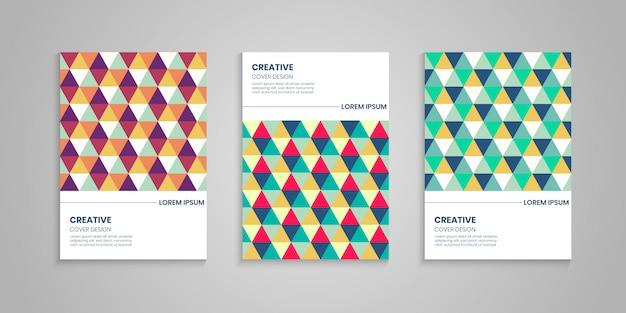 Conjunto de cubierta de triángulo colorido abstracto