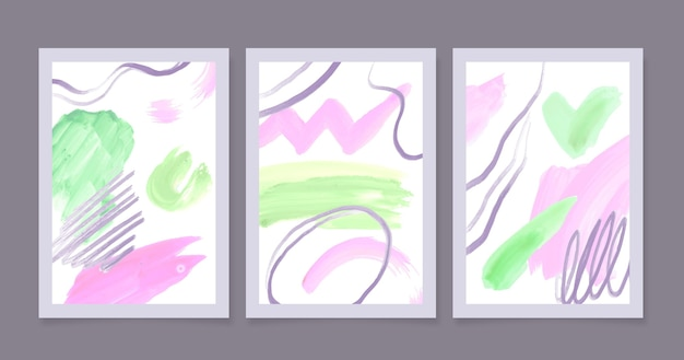 Conjunto de cubiertas abstractas de acuarela
