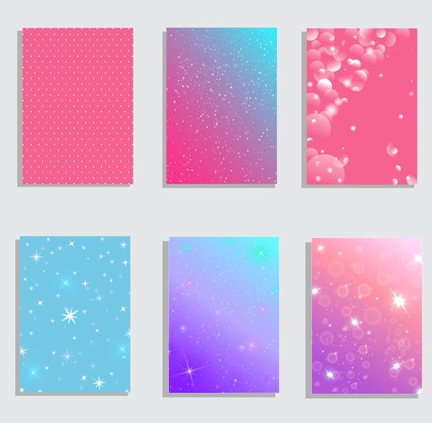Conjunto de cubiertas abstractas modernas. composición de formas de degradado fresco. diseño futurista.