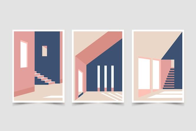 Conjunto de cubiertas de arquitectura mínima.