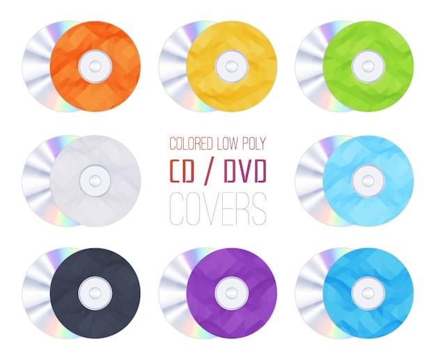 Conjunto de cubiertas de cd-dvd coloreadas