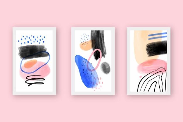 Conjunto de cubiertas de formas abstractas de acuarela