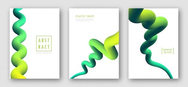 Conjunto de cubiertas con formas abstractas de degradado fluido