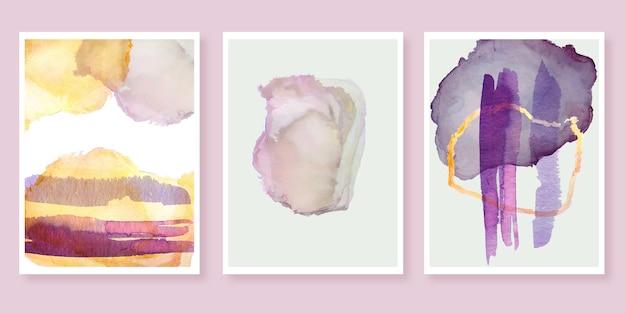 Conjunto de cubiertas de manchas de acuarela abstracta