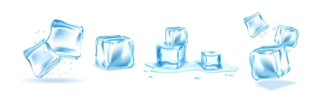 Conjunto de cubitos de hielo realistas aislado en blanco